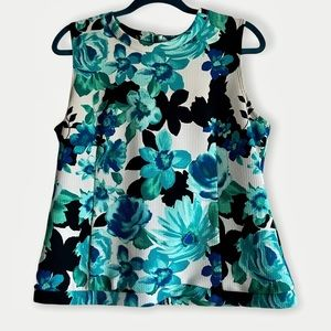 Jules & Leopold Blue and White Floral Shell Tank